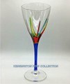 """POSITANO"" WINE GLASS - BLUE STEM - HAND PAINTED VENETIAN GLASSWARE"