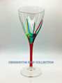 """POSITANO"" WINE GLASS - RED STEM - HAND PAINTED VENETIAN GLASSWARE"