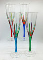 """POSITANO"" CHAMPAGNE FLUTES - SET/4 - HAND PAINTED VENETIAN GLASSWARE"