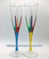 """POSITANO"" CHAMPAGNE FLUTES - SET/2 - YELLOW & TURQUOISE - VENETIAN GLASSWARE"