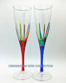"""POSITANO"" CHAMPAGNE FLUTES - SET/2 - RED & BLUE - HAND PAINTED VENETIAN GLASS"