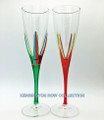 """POSITANO"" CHAMPAGNE FLUTES - SET/2 - RED & GREEN - HAND PAINTED VENETIAN GLASS"