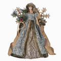 WOODLAND ANGEL CHRISTMAS TREE TOPPER WITH SNOWFLAKE WINGS