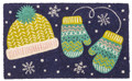 "DOOR MATS - WARM WOOLEN MITTENS COIR DOORMAT - 17"" X 28"" - WINTER DOOR MAT"