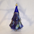 "CHRISTMAS DECORATIONS - MURANO GLASS MILLEFIORI CHRISTMAS TREE - BLUE - 5""H"