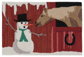 "AREA RUGS - ""CHRISTMAS AT THE FARM"" INDOOR OUTDOOR RUG - 24"" x 36"" - SNOWMAN & HORSE RUG"