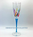 """VENETIAN CARNEVALE"" CHAMPAGNE FLUTE - TURQUOISE STEM - HAND PAINTED VENETIAN GLASSWARE"