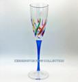 """VENETIAN CARNEVALE"" CHAMPAGNE FLUTE - BLUE STEM - HAND PAINTED VENETIAN GLASSWARE"