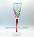 """VENETIAN CARNEVALE"" CHAMPAGNE FLUTE - RED STEM - HAND PAINTED VENETIAN GLASSWARE"