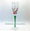 """VENETIAN CARNEVALE"" CHAMPAGNE FLUTE - GREEN STEM - HAND PAINTED VENETIAN GLASSWARE"