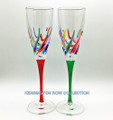 """VENETIAN CARNEVALE"" CHAMPAGNE FLUTES - SET/2 - RED & GREEN STEMS"