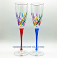 """VENETIAN CARNEVALE"" CHAMPAGNE FLUTES - SET/2 - RED & BLUE STEMS - HAND PAINTED VENETIAN GLASSWARE"