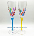 """VENETIAN CARNEVALE"" CHAMPAGNE FLUTES - SET/2 - YELLOW & TURQUOISE STEMS - HAND PAINTED VENETIAN GLASSWARE"