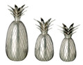 CANDLE HOLDERS - BRASS PINEAPPLE CANDLE HOLDER TRIO - PEWTER FINISH - SET OF 3