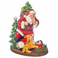 SANTA WITH PUPPY DOG AND PRESENTS - HOLIDAY FIGURINE