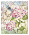 """PARISIENNE GARDEN"" THROW BLANKET - 50"" X 60"" - HYDRANGEA - DRAGONFLY - BUTTERFLY"