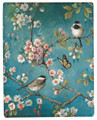 """IMPERIAL GARDEN"" THROW BLANKET - 50"" X 60"" - CHERRY BLOSSOMS - CHICKADEES"