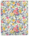 """FRUIT & FLORAL"" THROW BLANKET - 50"" X 60"" - ROSES - FLORAL DECOR"