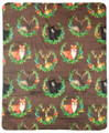 """FOREST FRIENDS"" FLEECE THROW BLANKET - 50"" X 60"" - FOX - DEER - BEAR"