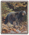 """ON THE PROWL"" TAPESTRY THROW BLANKET - 50"" x 60"" - LODGE - BEAR THROW"