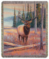 "WOODLAND ELK TAPESTRY THROW BLANKET - 50"" X 60"" - LODGE DECOR"