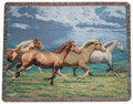 STAMPEDING STALLIONS TAPESTRY THROW BLANKET - HORSE THROW - EQUESTRIAN DECOR