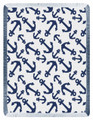 """INTERLOCKING ANCHORS"" THROW BLANKET - NAVY - 48"" X 60"" - RAYON THROW - NAUTICAL DECOR"