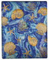 """OCEAN TREASURES"" THROW BLANKET - 50"" X 60"" - SHELLS - CORAL - STARFISH"