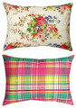"""FRENCH FLORAL"" INDOOR OUTDOOR REVERSIBLE PILLOW - 18"" X 13"" OBLONG PILLOW"
