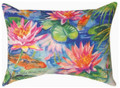 """GIVERNY"" WATERLILY INDOOR OUTDOOR PILLOW - 18"" X 13"" - OBLONG PILLOW"