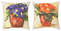 """PRIMROSE BOUQUET"" INDOOR OUTDOOR REVERSIBLE PILLOW #1 - 18"" SQUARE - FLORAL DECOR"