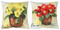 """PRIMROSE BOUQUET"" INDOOR OUTDOOR REVERSIBLE PILLOW #2 - 18"" SQUARE - FLORAL DECOR"