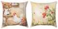 """COUNTRYSIDE CHICKS"" INDOOR OUTDOOR REVERSIBLE PILLOW - 18"" SQUARE"