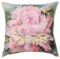 "PINK PEONY INDOOR OUTDOOR PILLOW - 18"" SQUARE - FLORAL DECOR"