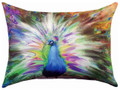 """PROUD PEACOCK"" INDOOR OUTDOOR PILLOW - 18"" X 13"" - OBLONG PILLOW"