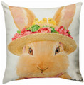 """EASTER PARADE"" BUNNY RABBIT PILLOW - 18"" SQUARE"