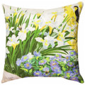 """IRIS BLOSSOMS"" INDOOR OUTDOOR PILLOW - 18"" SQUARE - FLORAL DECOR"