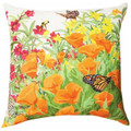 """WILDFLOWER GARDEN"" INDOOR OUTDOOR PILLOW - 18"" SQUARE - FLORAL DECOR"