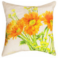 """GERBERA DAISY GARDEN"" INDOOR OUTDOOR PILLOW - 18"" SQUARE - FLORAL DECOR"