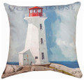 """COASTAL SENTRY"" INDOOR OUTDOOR LIGHTHOUSE PILLOW - 18"" SQUARE - NAUTICAL DECOR"