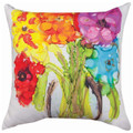 """VIBRANT FLORAL BOUQUET"" INDOOR OUTDOOR PILLOW - 18"" SQUARE - FLORAL DECOR"