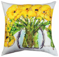 """YELLOW FLORAL BOUQUET"" INDOOR OUTDOOR PILLOW - 18"" SQUARE - FLORAL DECOR"