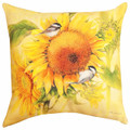 """SUNFLOWER & CHICKADEES"" INDOOR OUTDOOR PILLOW - 18"" SQUARE - FLORAL DECOR"