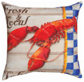 """FRESH & LOCAL LOBSTER"" INDOOR OUTDOOR PILLOW - 18"" SQUARE - NAUTICAL DECOR"