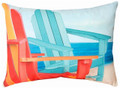 """BEACH CHAIRS"" INDOOR OUTDOOR OBLONG THROW PILLOW - 18"" X 13"" - NAUTICAL DECOR"