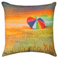 """COLORFUL BEACH UMBRELLA"" INDOOR OUTDOOR THROW PILLOW - 18"" SQUARE - NAUTICAL DECOR"