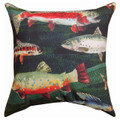 """GONE FISHING"" INDOOR OUTDOOR PILLOW - 18"" SQUARE - LAKE HOUSE DECOR"