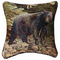 """ON THE PROWL"" BLACK BEAR TAPESTRY THROW PILLOW - 17"" SQUARE - LODGE DECOR"
