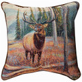 """WOODLAND ELK"" TAPESTRY PILLOW - 17"" SQUARE - LODGE DECOR"
