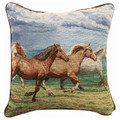 """STAMPEDING STALLIONS"" TAPESTRY THROW PILLOW - 17"" SQUARE - EQUESTRIAN DECOR"